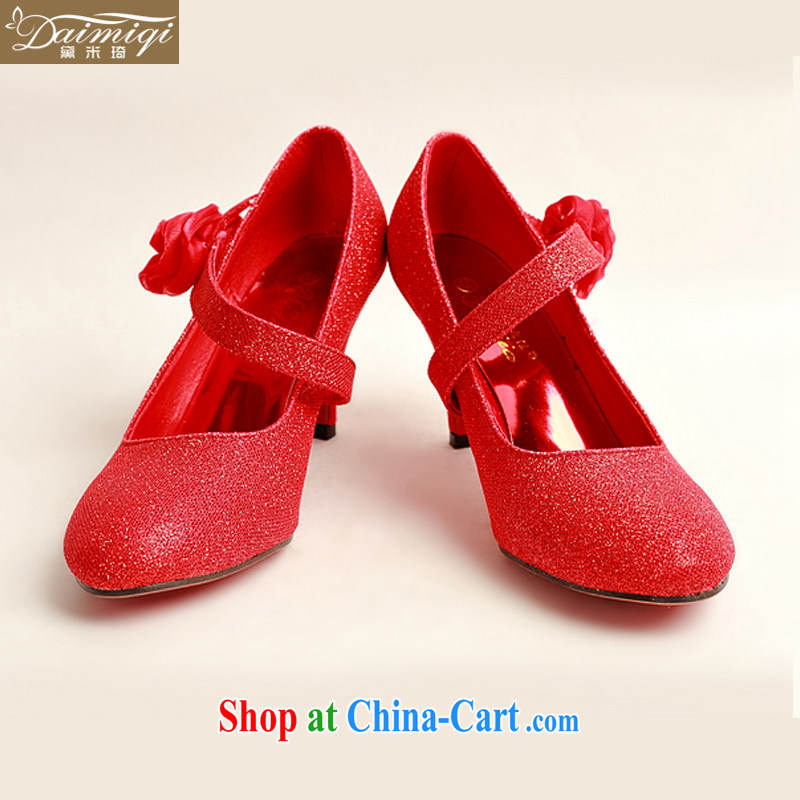 Diane M Ki New red light pink, single side red roses bridal wedding shoes, show marriage portrait DXZ shoes 1007 red 38