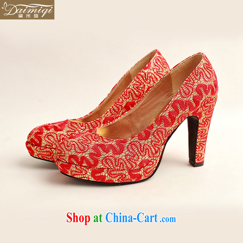 Diane M Qi 2014 new women shoes New floral bridal shoes bridal shoes red leatherette round-head high-heel shoes red 38