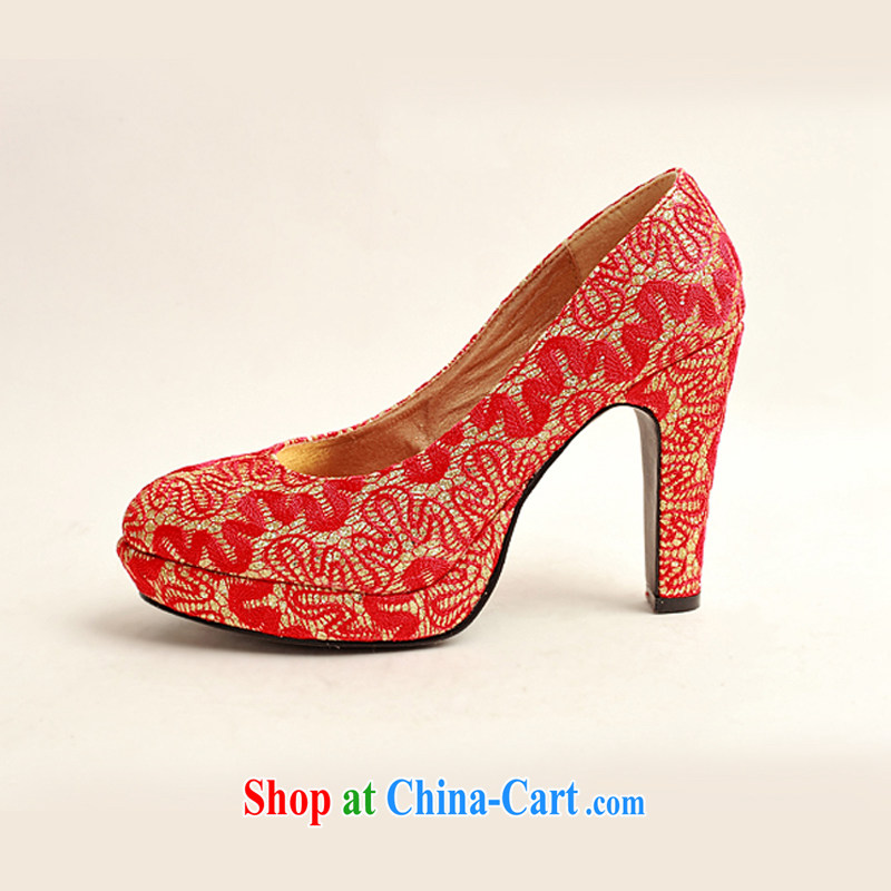 Diane M Qi 2014 new women shoes New floral bridal shoes bridal shoes red leatherette round-head high-heel shoes red 38, Diane M-ki, shopping on the Internet