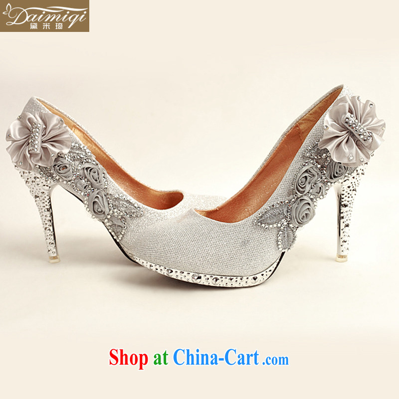 Diane M Qi 2014 women shoes new, ultra-elegant water drilling wedding shoes bridal shoes silver, round head high-heel shoes DXZ 10,013 silver 38