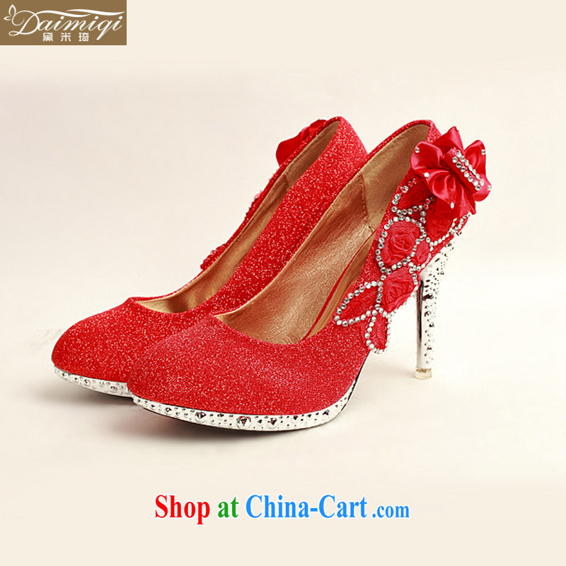 Diane M Qi 2014 women shoes new, bridal shoes and wedding shoes red, round-head side flowers high-heel shoes XZ 10,015 Red Red 38