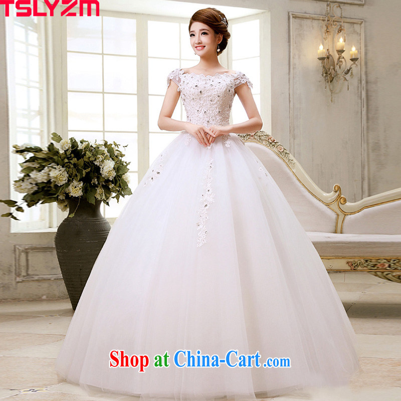 Tslyzm 2015 new wedding dresses Korean field shoulder bag shoulder alignment to drill the strap graphics thin a field for pregnant women and stylish white XXL