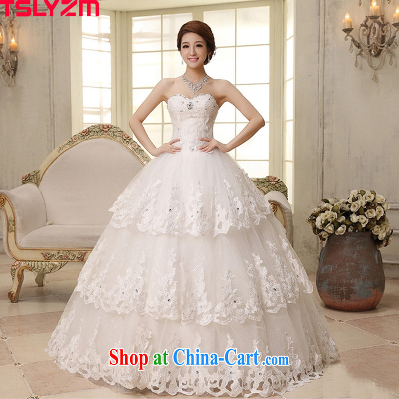 The angels, according to 2014 new wedding dresses Korean Beauty white light V Wipe for chest parquet drill lace straps with wedding canopy skirts wedding Korean style white XXL