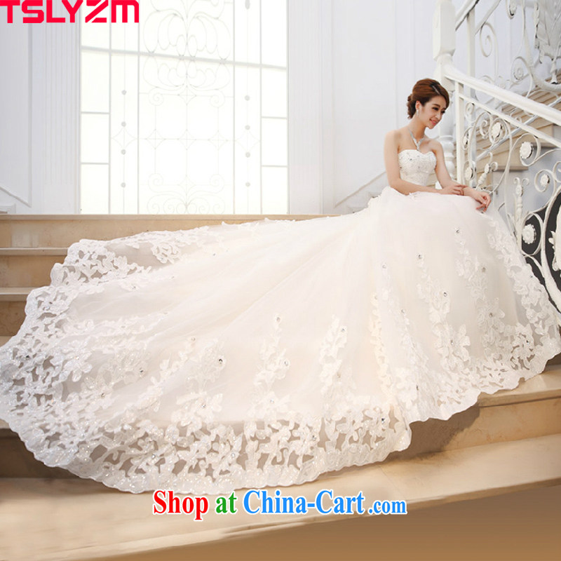 Drag and drop the extra long tail wedding dresses new 2015 spring and summer graphics thin bride Mary Magdalene chest diamond luxury white L