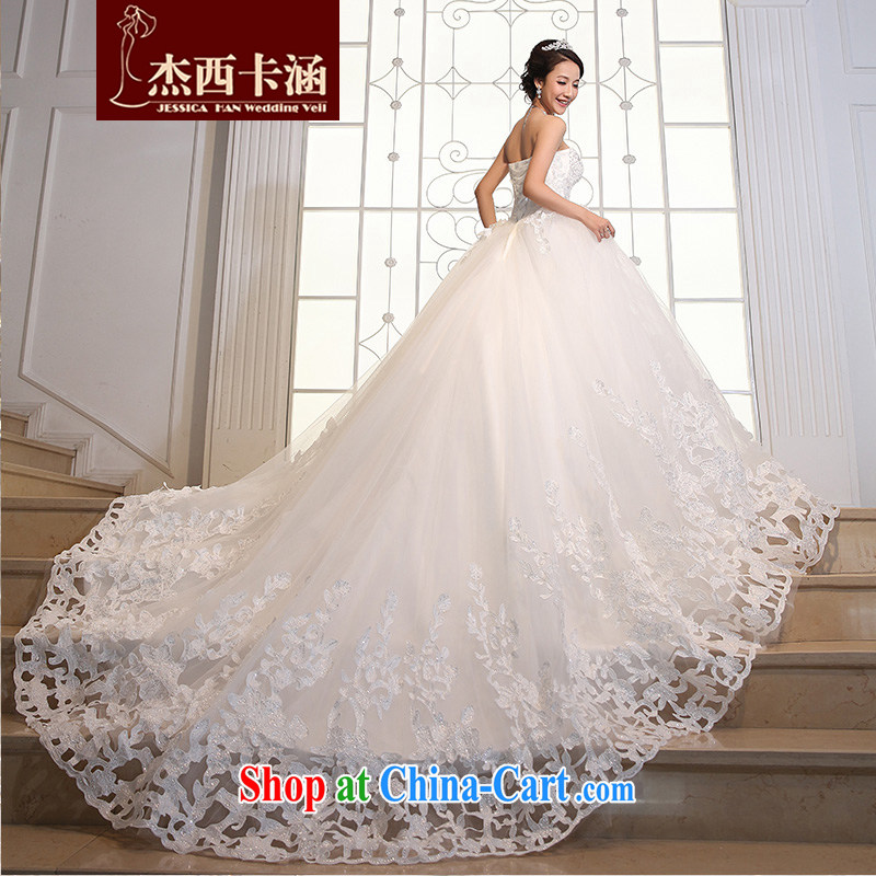 Jessica covers 2014 new wedding Korean luxury large-tail lace tie-cultivating parquet drill tail wedding dresses 2101 tail, XL