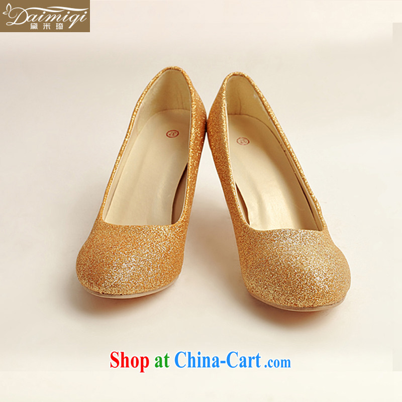 Diane M Ki wedding shoes winter Gold high-heel shoes, 2014 new female gold high-heel shoes with thin DXZ 10,020 gold 38