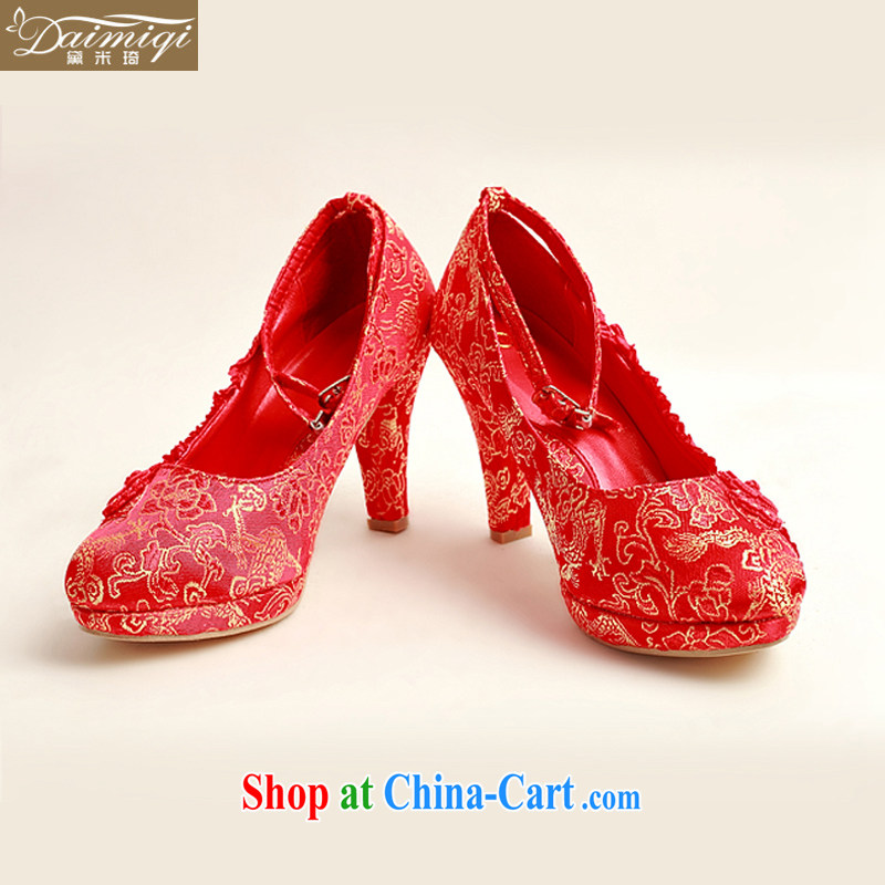Diane M Qi 2014 New floral wedding shoes wedding shoes bridal wedding shoes in bold with banquet shoes red high heel women shoes DXZ 10,025 red 38