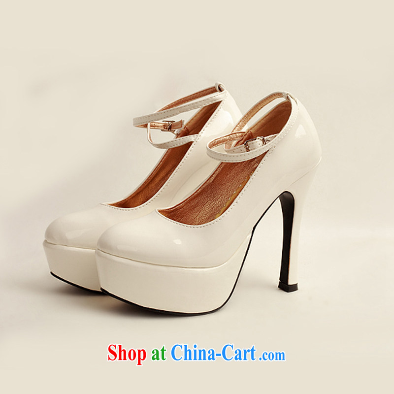 Diane M Qi 2014 women shoes new varnished leather, smooth flash light, deluxe waterproof single bridal shoes bridal shoes white, round-head high-heel shoes white 38, Diane M-kay, shopping on the Internet
