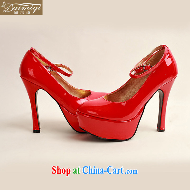 Diane M Qi 2014 women shoes new varnished leather, smooth flash, deluxe waterproof single bridal shoes bridal shoes red, round-head high-heel shoes red 38