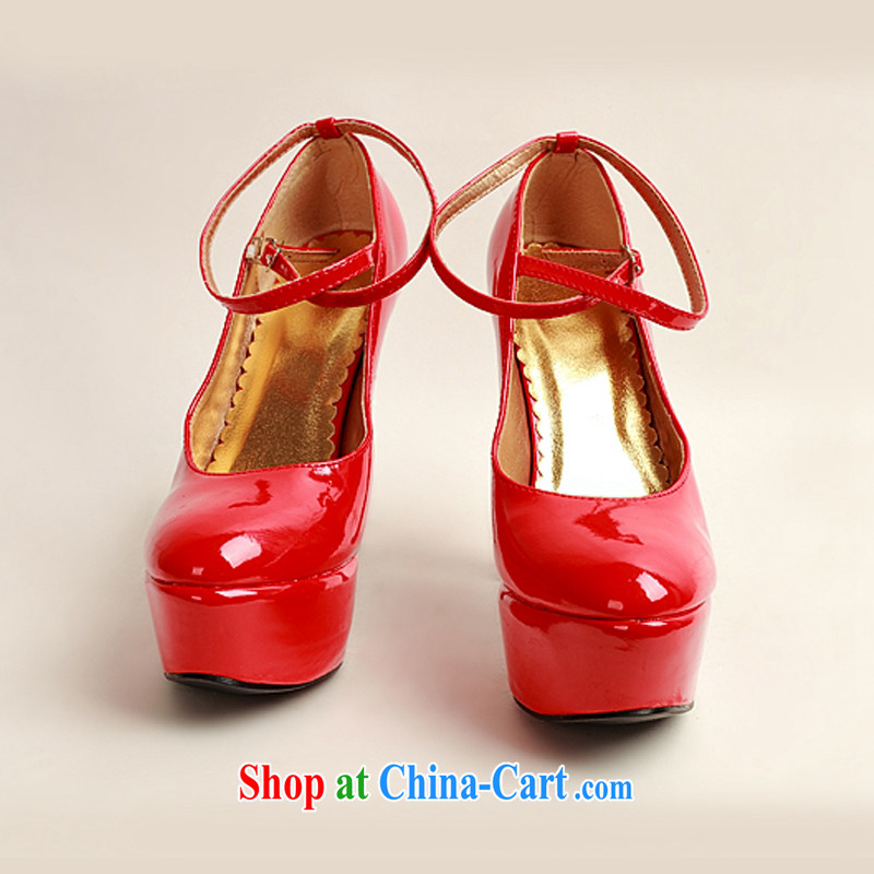 Diane M Qi 2014 women shoes new varnished leather, smooth flash light, deluxe waterproof single bridal shoes bridal shoes red, round-head high-heel shoes red 38, Diane M-ki, shopping on the Internet