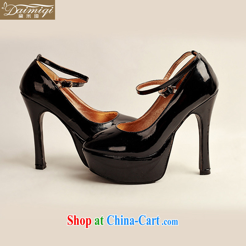 Diane M Qi 2014 women shoes new varnished leather, smooth flash, deluxe waterproof single bridal shoes bridal shoes black, round-head high-heel shoes black 38