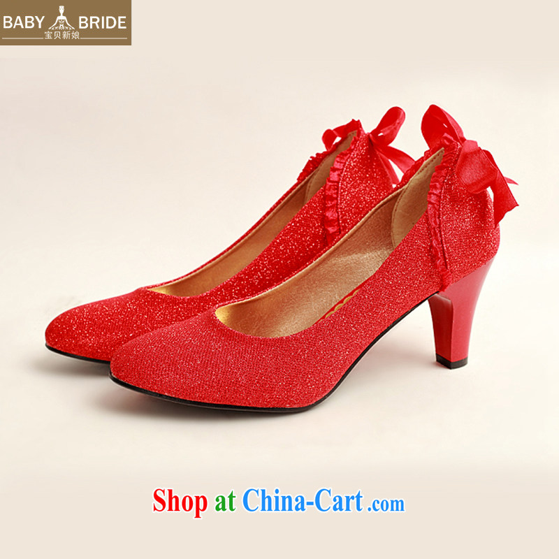 child bride marriages behind bowtie red wedding shoes, low-root, simple and elegant and classy, and 100 ground DXZ 1005 Red Red 38