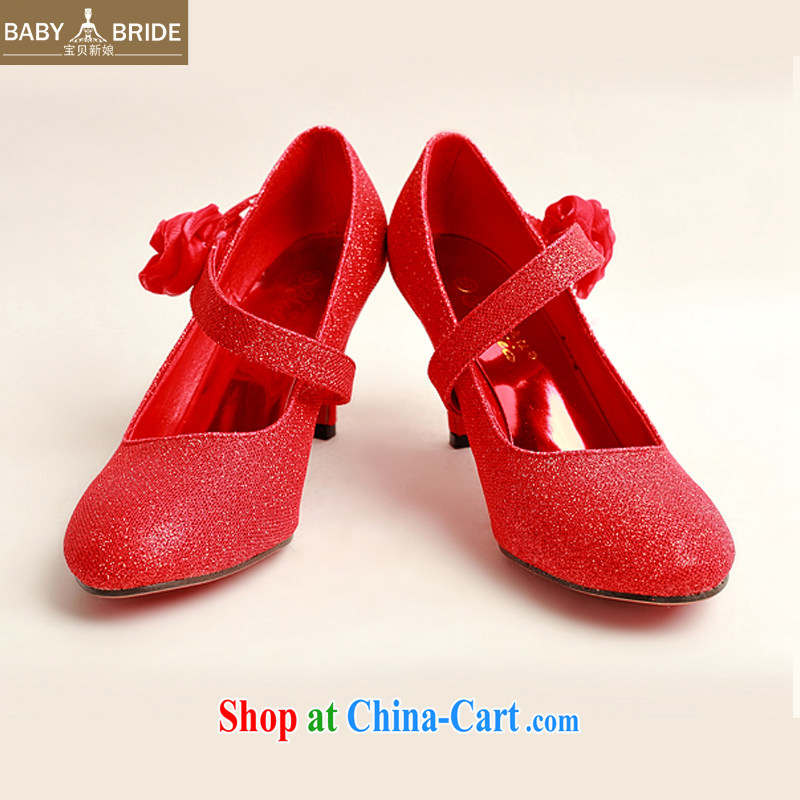 My dear bride's new red light pink, single side red roses bridal wedding shoes, show marriage portrait DXZ shoes 1007 red 38
