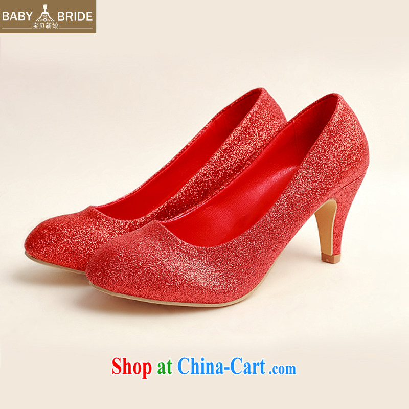 Baby bridal wedding shoes wedding shoes bridal shoes wedding shoes Ballroom shoes high heel red concert stage shoes shoes DXZ 1008 red 38