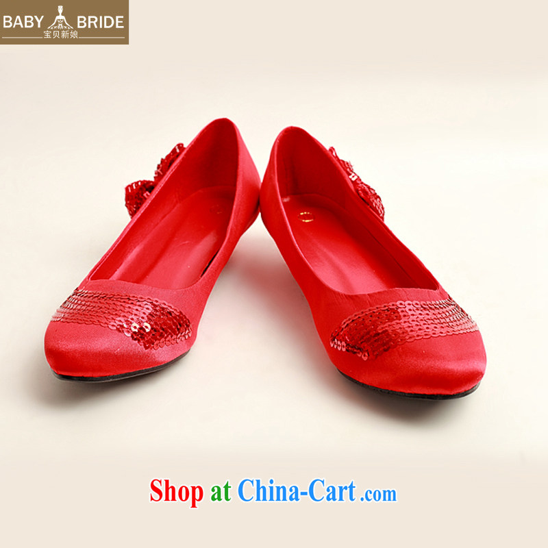 child bride marriages red flash chip side sweet bowtie red wedding shoes, low-root, simple and elegant and classy, and 100 ground DXZ 1009 red 38