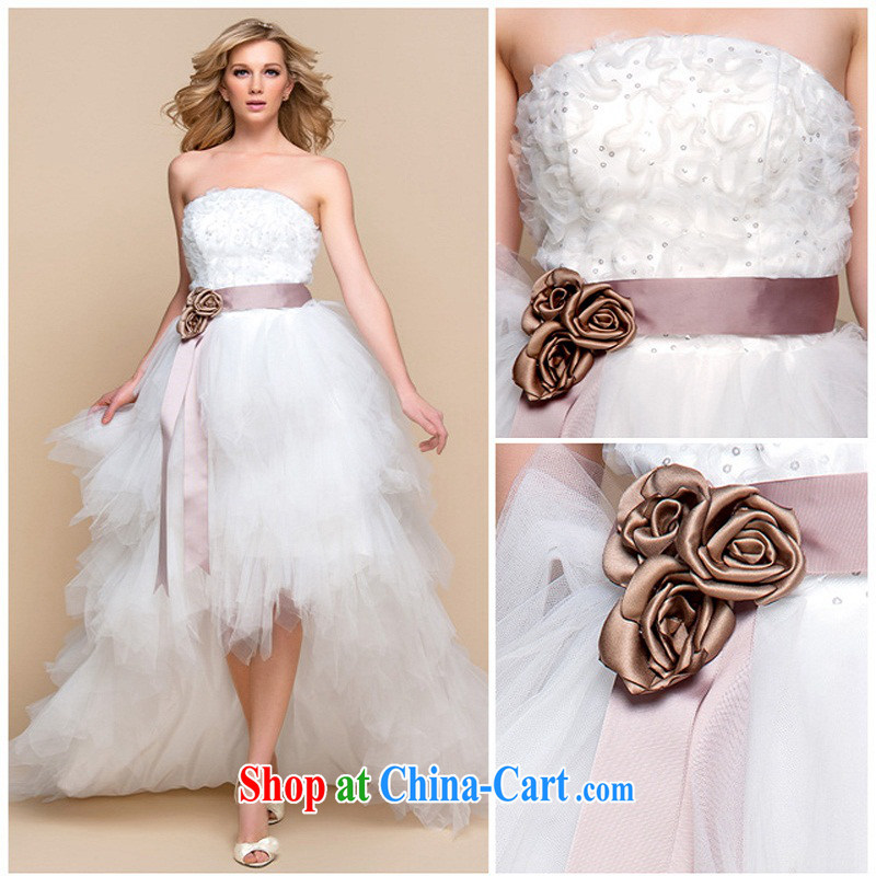 Moon 珪 guijin 2014 new marriages wedding wiped chest waist flower short before long after the stylish wedding HS 211 m White XXL code from Suzhou shipping