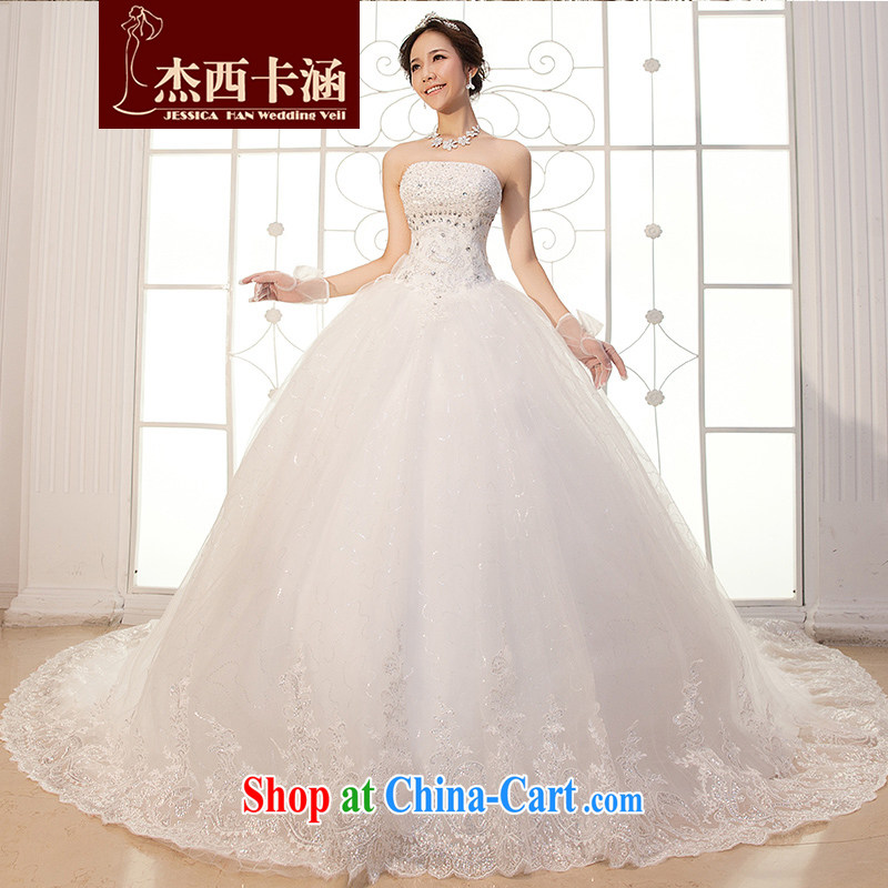 Jessica covers wedding dresses 2014 new Korean Princess wood drill with long-tail butterfly bridal 2057 m White XL