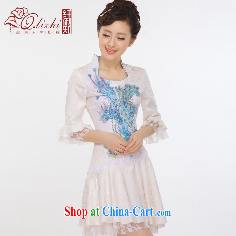 Slim li know 2015 spring and summer New China wind beads, embroidery lace cuff Princess retro improved stylish Phoenix cheongsam dress QLZ Q 15 6011 blue M