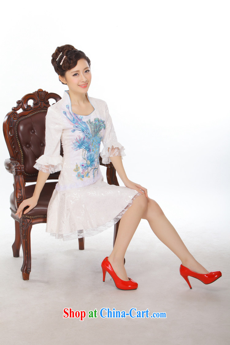 Slim li know 2015 spring and summer New China wind beads, embroidery lace cuff Princess retro improved stylish Phoenix cheongsam dress QLZ Q 15 6011 blue M pictures, price, brand platters! Elections are good character, the national distribution, so why buy now enjoy more preferential! Health