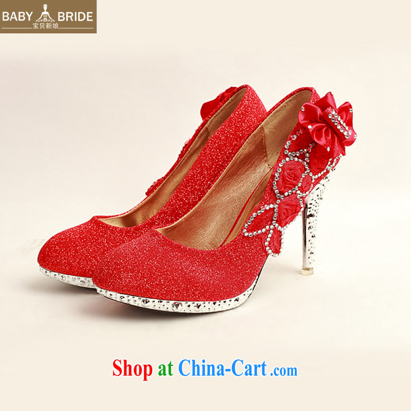 Baby bridal 2014 women shoes new, ultra-elegant water drilling wedding shoes bridal shoes red, round head high-heel shoes XZ 10,012 red 38