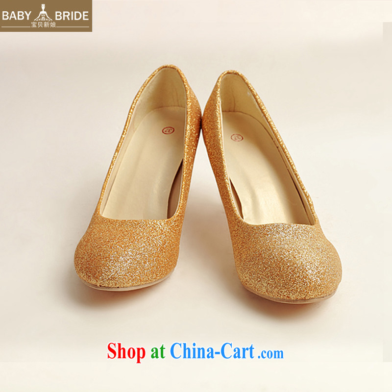 Baby bridal wedding shoes wedding shoes bridal shoes dress shoes bridal shoes Ballroom shoes high heel gold performance shoe stage shoes gold XZ 10,020 gold 38