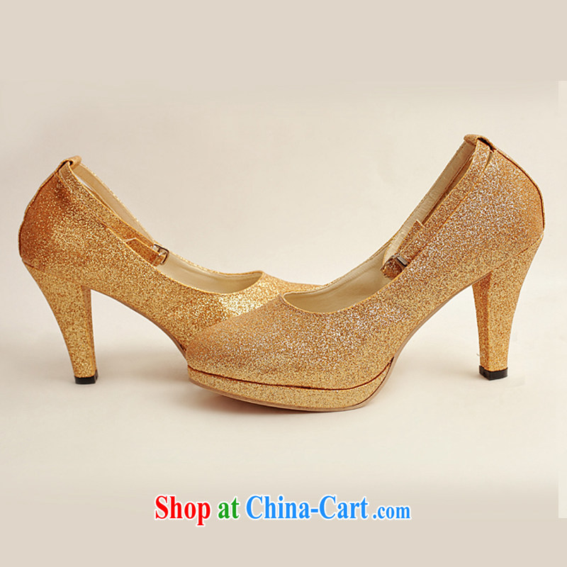 Baby bridal wedding shoes wedding shoes bridal shoes dress shoes bridal shoes Ballroom shoes high heel gold performance shoe stage shoes gold XZ 10,020 gold 38, my dear bride (BABY BPIDEB), online shopping