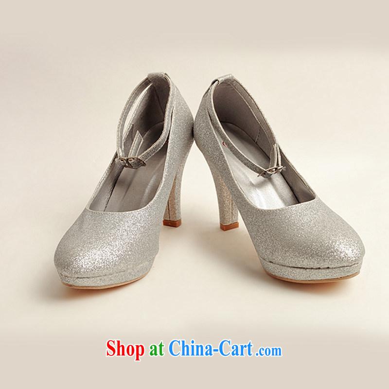 Baby bridal wedding shoes winter silver high-heel shoes, 2014 new women silver high-heel shoes with thin DXZ 10,021 silver 38 silver 38
