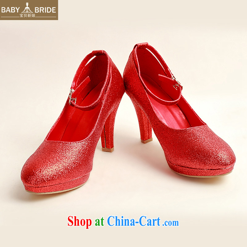 Baby bridal wedding shoes winter red high-heel shoes, 2014 new female Red high-heel shoes with thin DXZ 10,022 Red Red 38