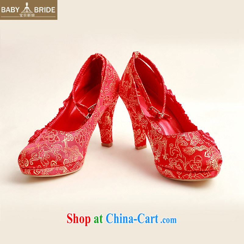 2014 New floral bridal wedding shoes wedding shoes bridal wedding shoes in bold with banquet shoes red high heel women shoes XZ 10,025 Red Red 37