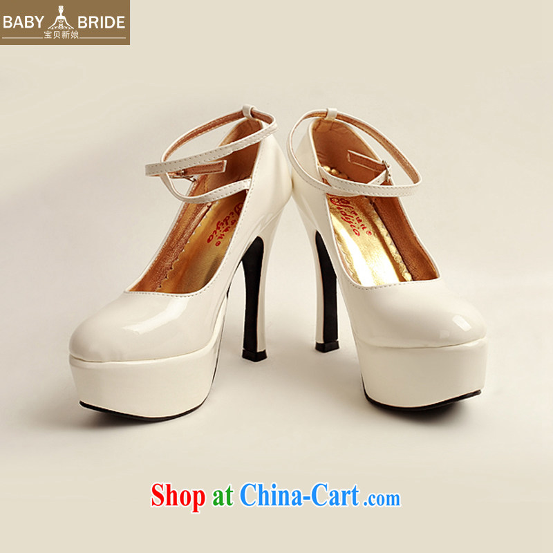 2014 women shoes new varnished leather, smooth flash, deluxe waterproof single bridal shoes bridal shoes white, round-head high-heel shoes white white 38