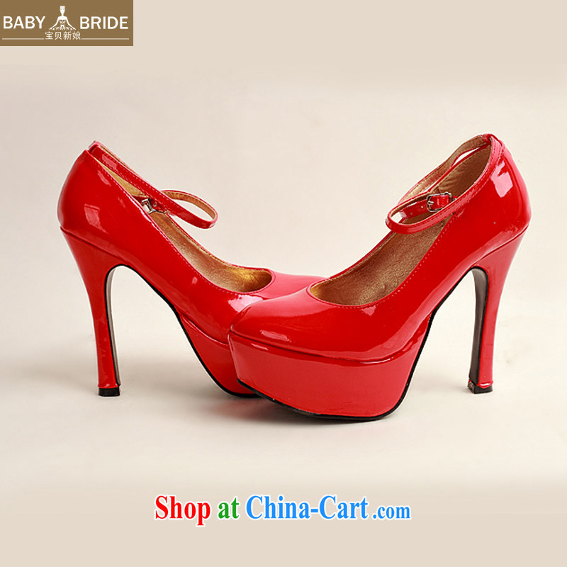 2014 women shoes new varnished leather, smooth flash, deluxe waterproof single bridal shoes bridal shoes red, round-head high-heel shoes Red Red 38