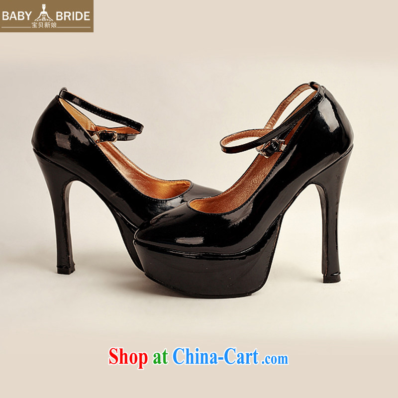 2014 women shoes new varnished leather, smooth flash, deluxe waterproof single bridal shoes bridal shoes black, round-head high-heel shoes black 38