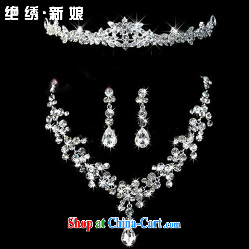 There is embroidery bridal water drilling accessories kit bridal jewelry Korean-style wedding Crown necklace earrings 3 piece necklace earrings ear clip, Suzhou shipping