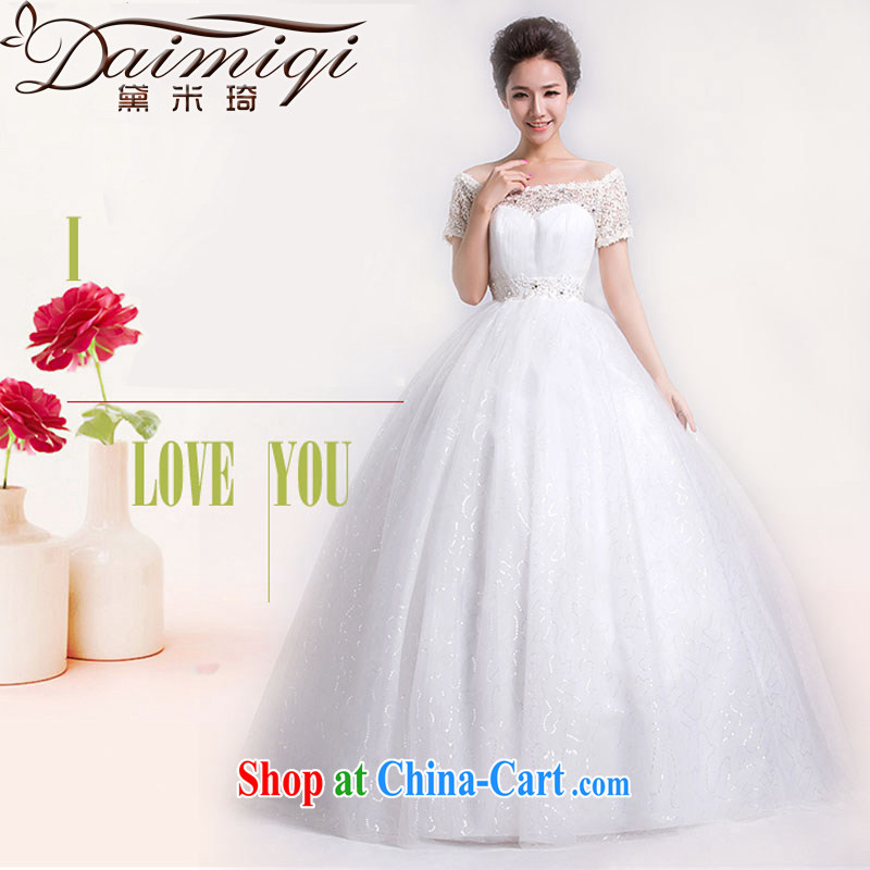 Diane M Ki bridal wedding dresses Korean version of the new, 20,141 field shoulder with graphics thin wedding lace retro beauty white L