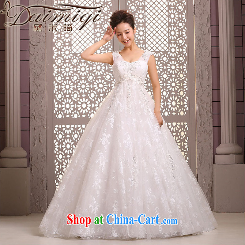 Diane M Ki wedding dresses new 2014 Korean marriages shoulders parquet drill with wedding dress pregnant women winter white XXL