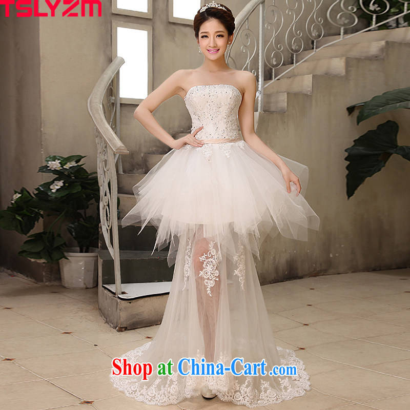 2014 new bride short wedding chest bare bow-tie front short long wedding small tail end crowsfoot shaggy dress Korean sweet Princess tied with pregnant women wedding white XXL