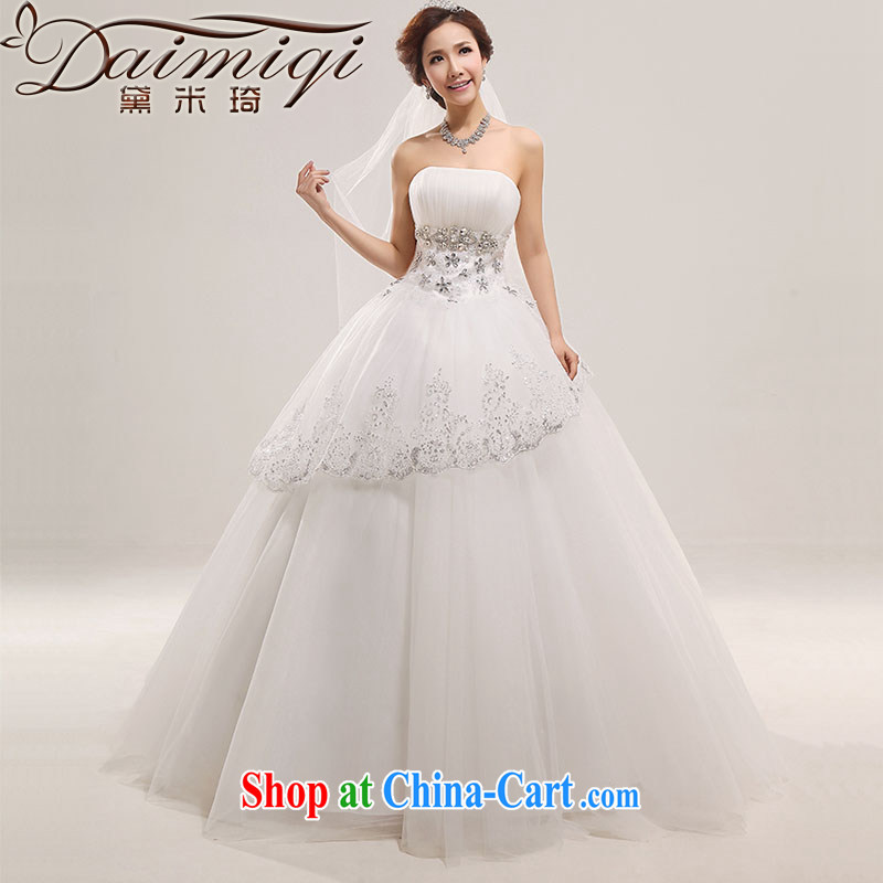 Diane M Ki wedding dresses 2014 new lace lace Korean sweet Princess chest bare wood drill with marriage wedding white XXL