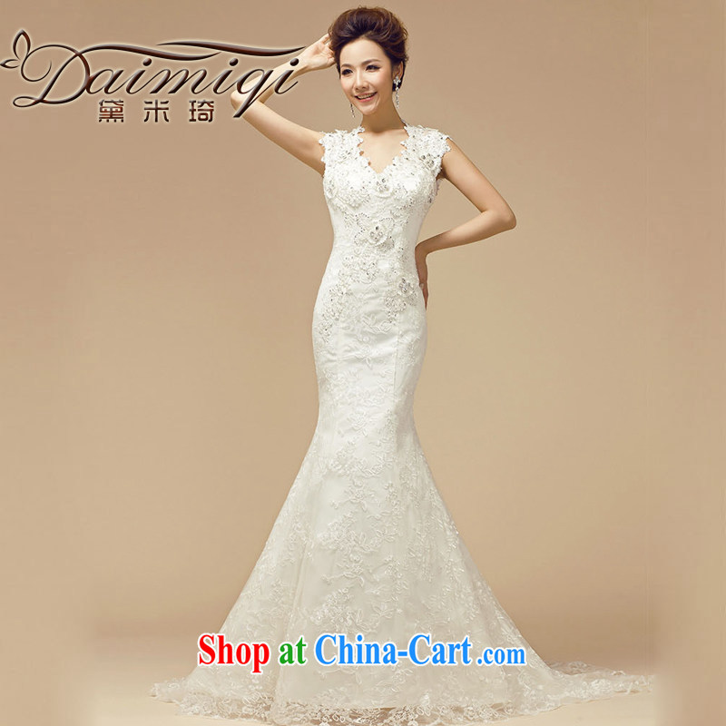 Diane M Ki wedding dresses new 2014 winter Korean marriages white package shoulder parquet drill video thin tail wedding white XL