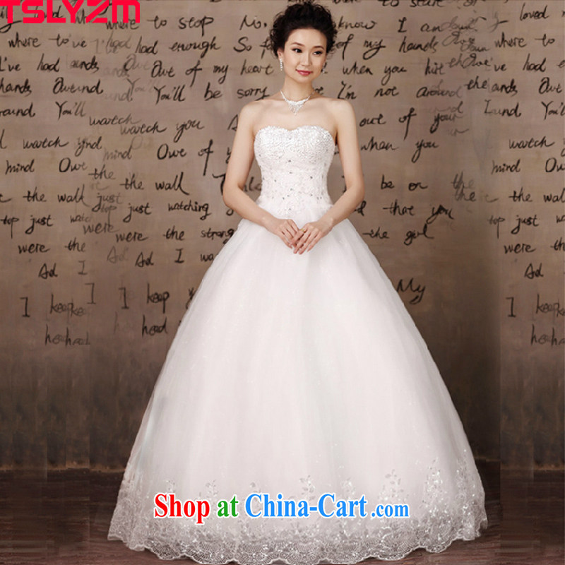 Tslyzm wedding dresses new 2015 spring and summer bride Korean version Mary Magdalene chest white with lace Princess large code pregnant women married white XXXL