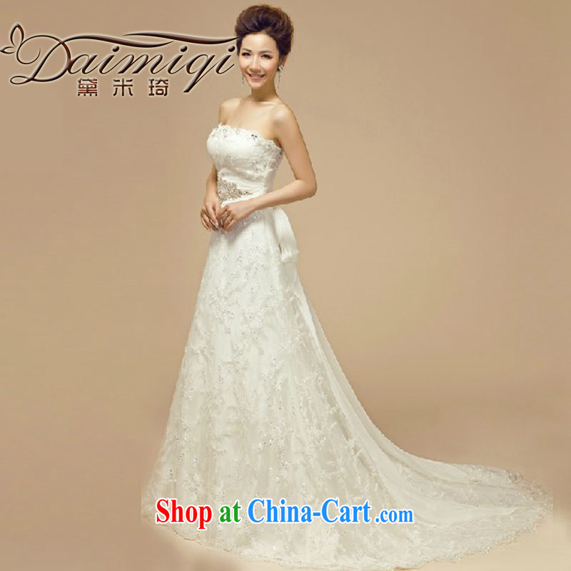 Diane M Ki bridal wedding dresses 2014 new Korean version the code binding marriage with bare chest Deluxe tail wedding pregnant white L