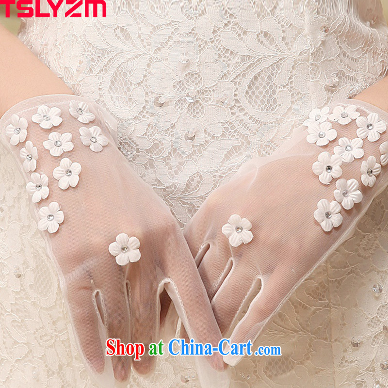 Angel, Mrs Carrie Yau, 2015 in accordance with new bride's white gloves translucent Web yarn in a short wedding gloves Korean manual flowers marriage wedding gloves accessories