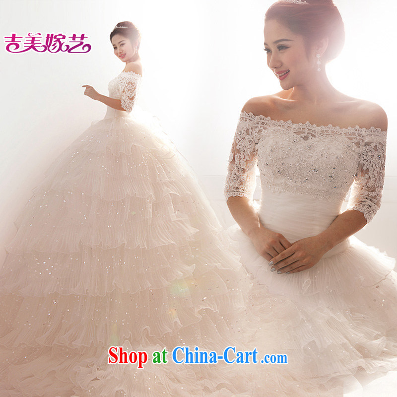 2015 New City long-tail Korean Princess crowsfoot 72,101 field shoulder drill white bridal wedding dresses Ivory with XXXL