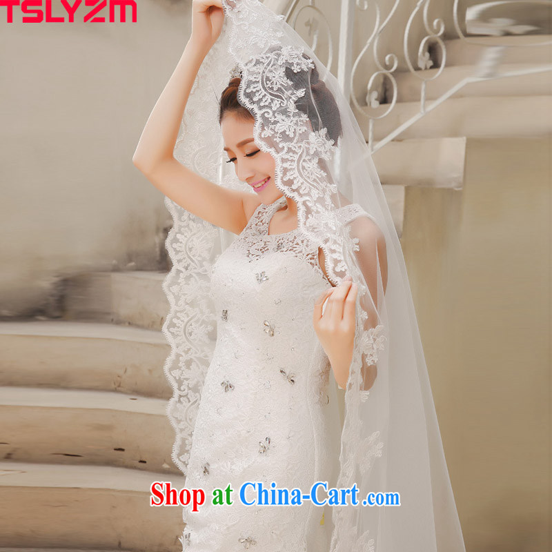 Tslyzm brides and legal wedding veil Korean-style embroidery and elegant head yarn 2015 new 3M and yarn and trim long