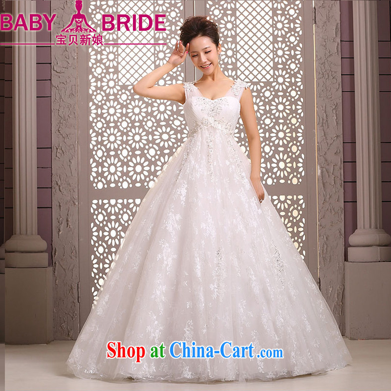 Baby bridal wedding dresses new 2014 Korean marriages shoulders parquet drill with wedding dress pregnant women winter white XXL