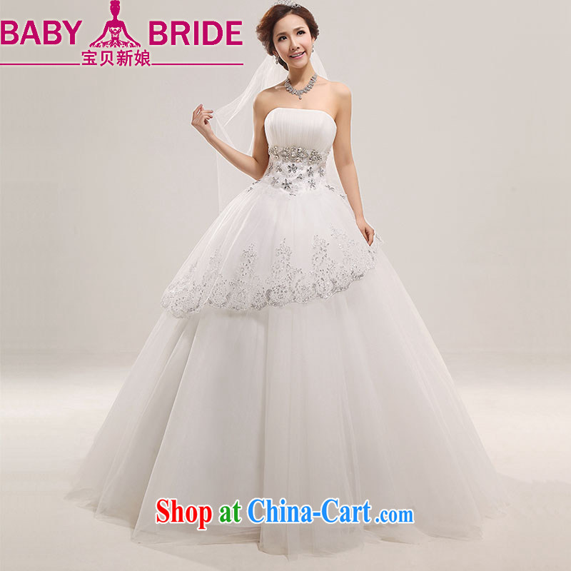 Baby bridal wedding dresses 2014 new lace lace Korean sweet Princess chest bare wood drill with marriage wedding white L