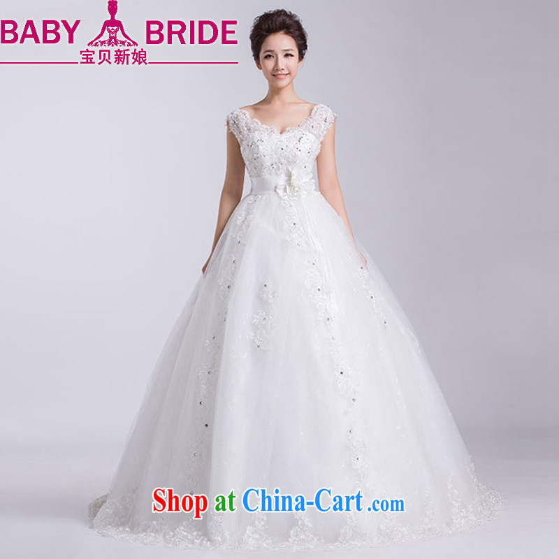 Baby bridal 2014 new wedding dresses Korean word V shoulder collar shoulders the code with pregnant women video thin wedding white M