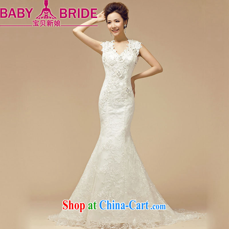 My dear bride spring 2014 New Field shoulder Deep V back exposed crowsfoot wedding dresses bridal replacing white XXL