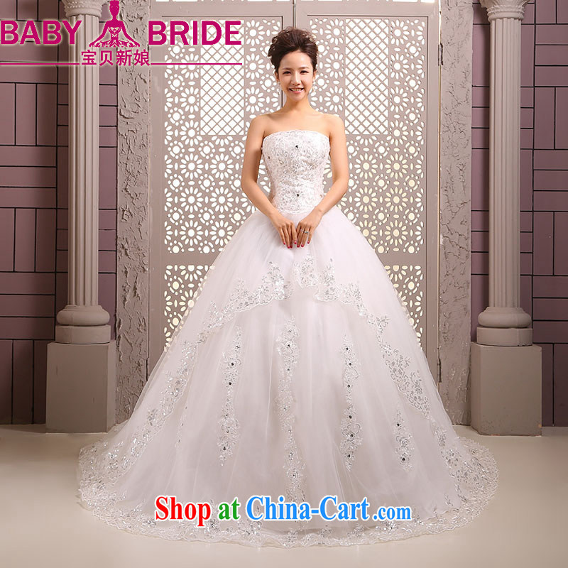 My dear bride-tail wedding dresses new 2014 Korean brides spring wipe chest parquet drilling tied with the Code wedding wedding dress white XXL