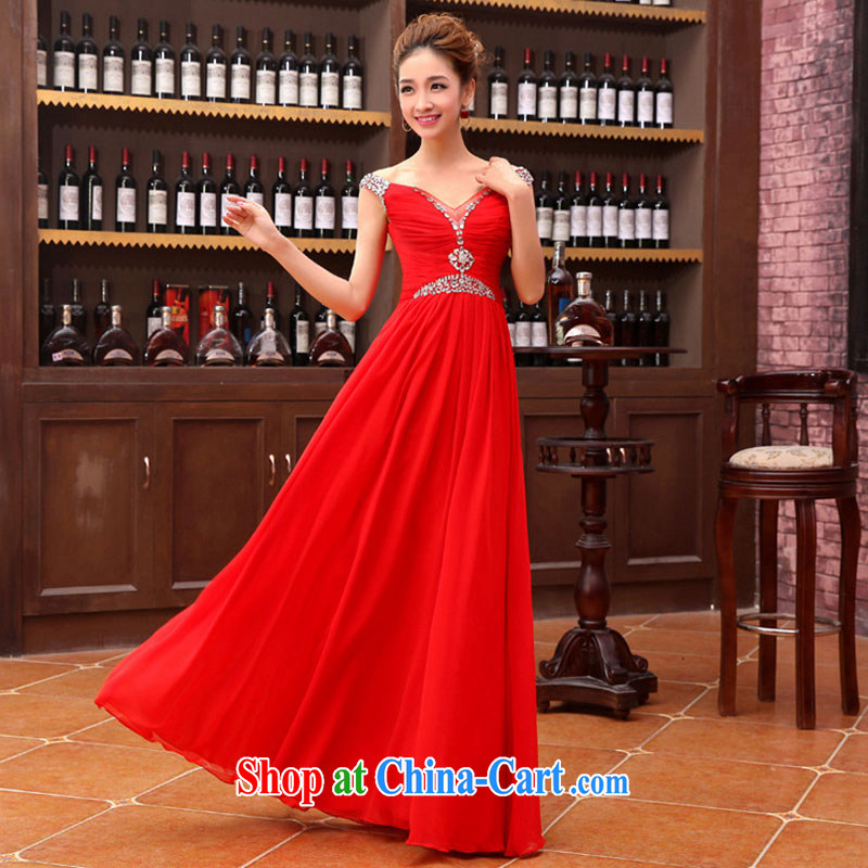 Optimize Hung-new dual-shoulder red flash drill upscale wedding dress Evening Dress XS 8177 red XXL