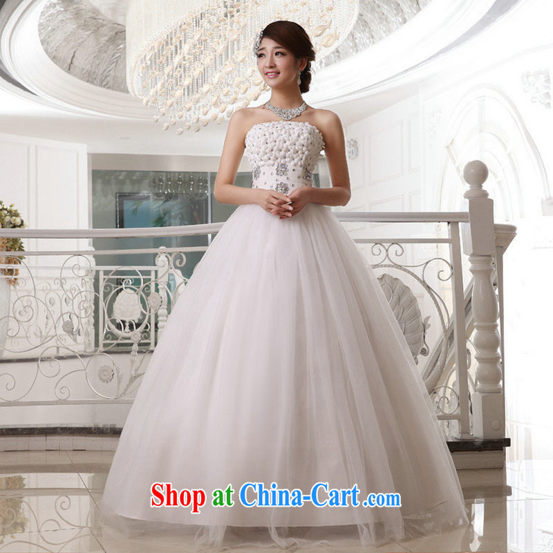 Optimize Hung-spring and summer Korean version of the new, bare chest flowers with strap bridal wedding dresses XS 8183 m White XXXL